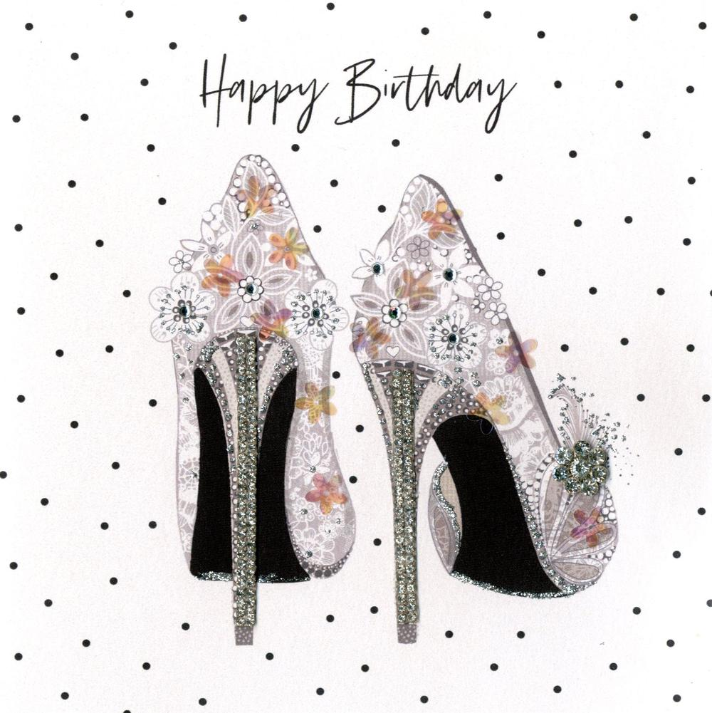 Hand-Finished Stiletto's Birthday Greeting Card