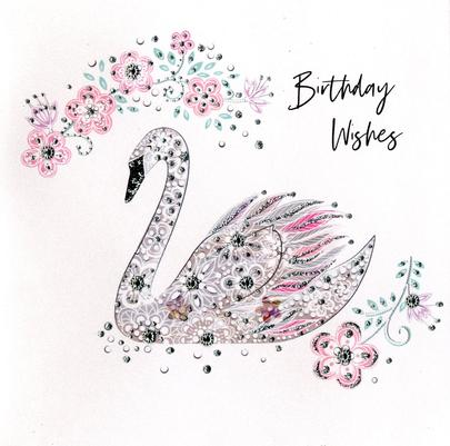 Hand-Finished Swan Birthday Greeting Card
