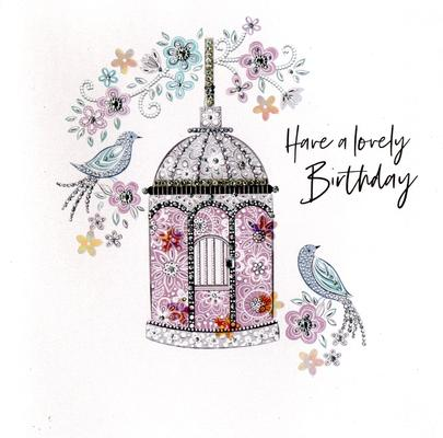 Hand-Finished Bird Cage Birthday Greeting Card