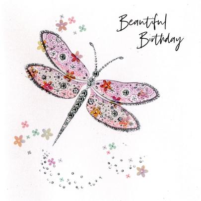 Hand-Finished Dragonfly Birthday Greeting Card