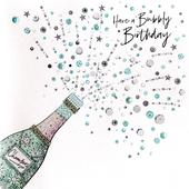 Hand-Finished Champagne Birthday Greeting Card
