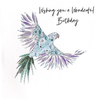 Hand-Finished Parrot Birthday Greeting Card
