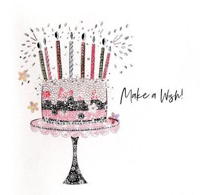 Hand-Finished Cake Birthday Greeting Card