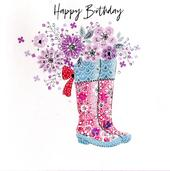 Hand-Finished Wellie Boots Birthday Greeting Card