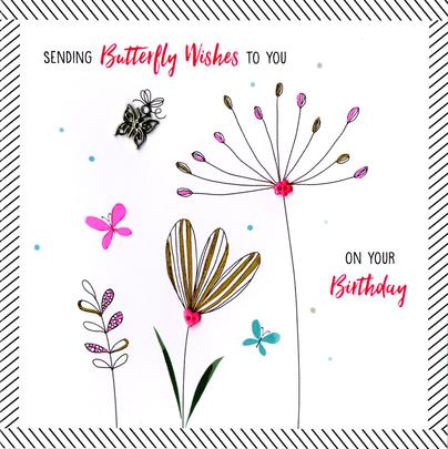 Hand-Finished Butterfly Wishes Birthday Greeting Card