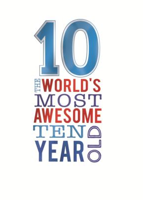 Boys Awesome 10th Birthday Greeting Card