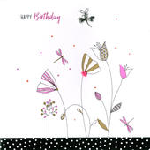 Hand-Finished Dragonfly & Flowers Birthday Card