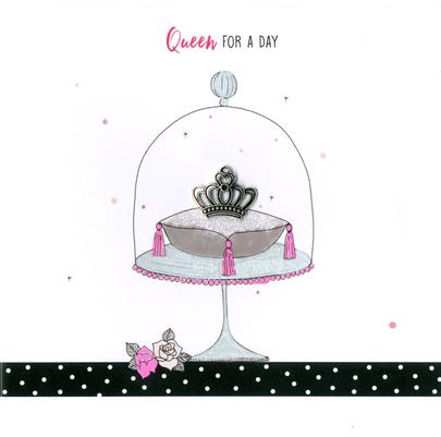 Hand-Finished Queen & Crown Birthday Greeting Card