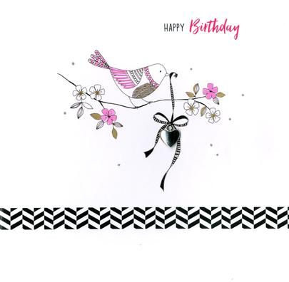 Hand-Finished Bird With Heart Birthday Greeting Card
