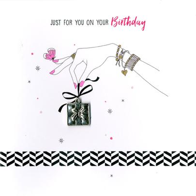 Hand-Finished Present Birthday Greeting Card