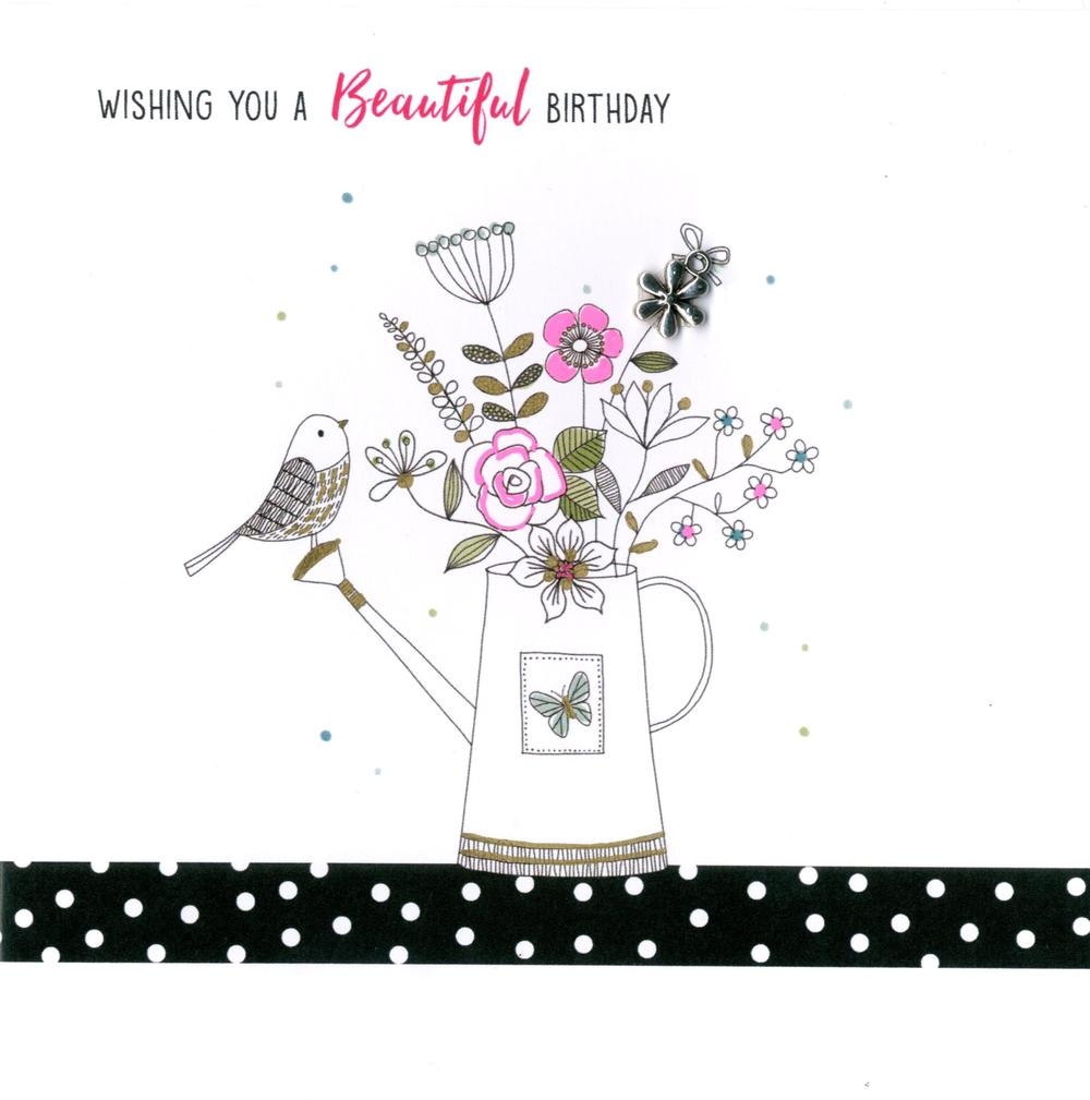 Hand-Finished Watering Can Birthday Greeting Card