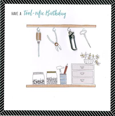 Hand-Finished Tool Shed Birthday Greeting Card