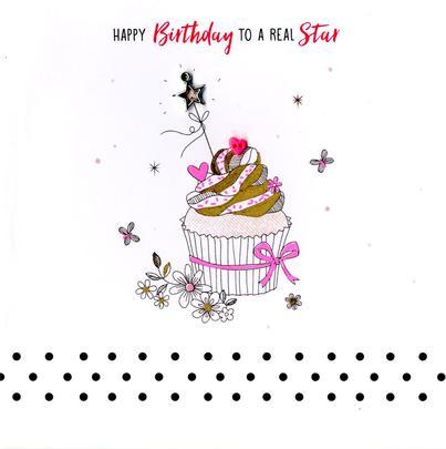 Hand-Finished Star Cupcake Birthday Greeting Card