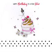 Hand-Finished Star Cupcake Birthday Greeting Card