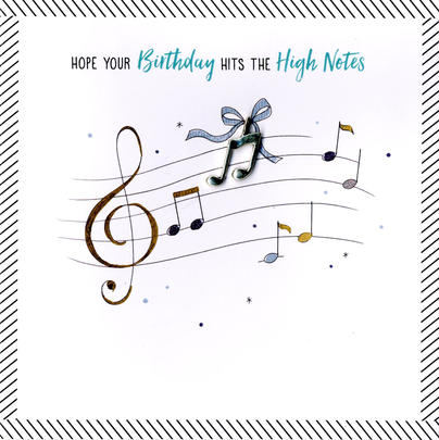 Hand-Finished Musical Notes Birthday Greeting Card