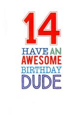 Boys14th Birthday Greeting Card