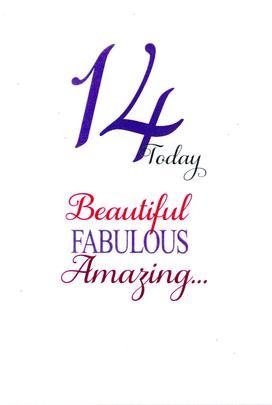 Girls 14th Birthday Greeting Card