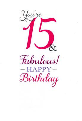 Girls 15th Birthday Greeting Card
