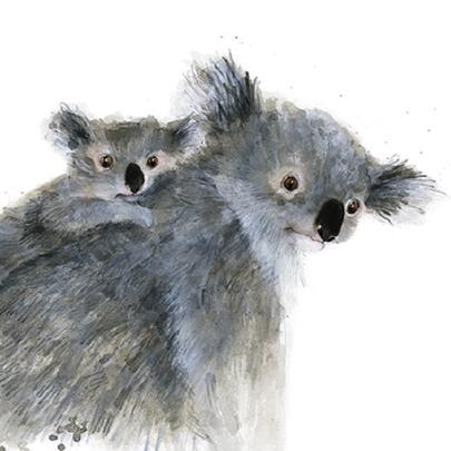 Koalas Animal Magic Square Art Greeting Card Blank Inside