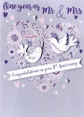 Congratulations On Your 1st Anniversary Greeting Card