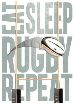 Eat Sleep Rugby Repeat Birthday Greeting Card