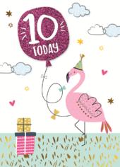 Girls 10th Birthday Flamingo Greeting Card