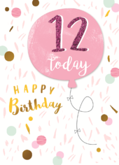 Girls 12th Birthday Balloon Greeting Card