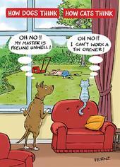 Cat & Dog Funny Birthday Greeting Card