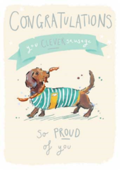 Congratulations Clever Sausage Dog Greeting Card