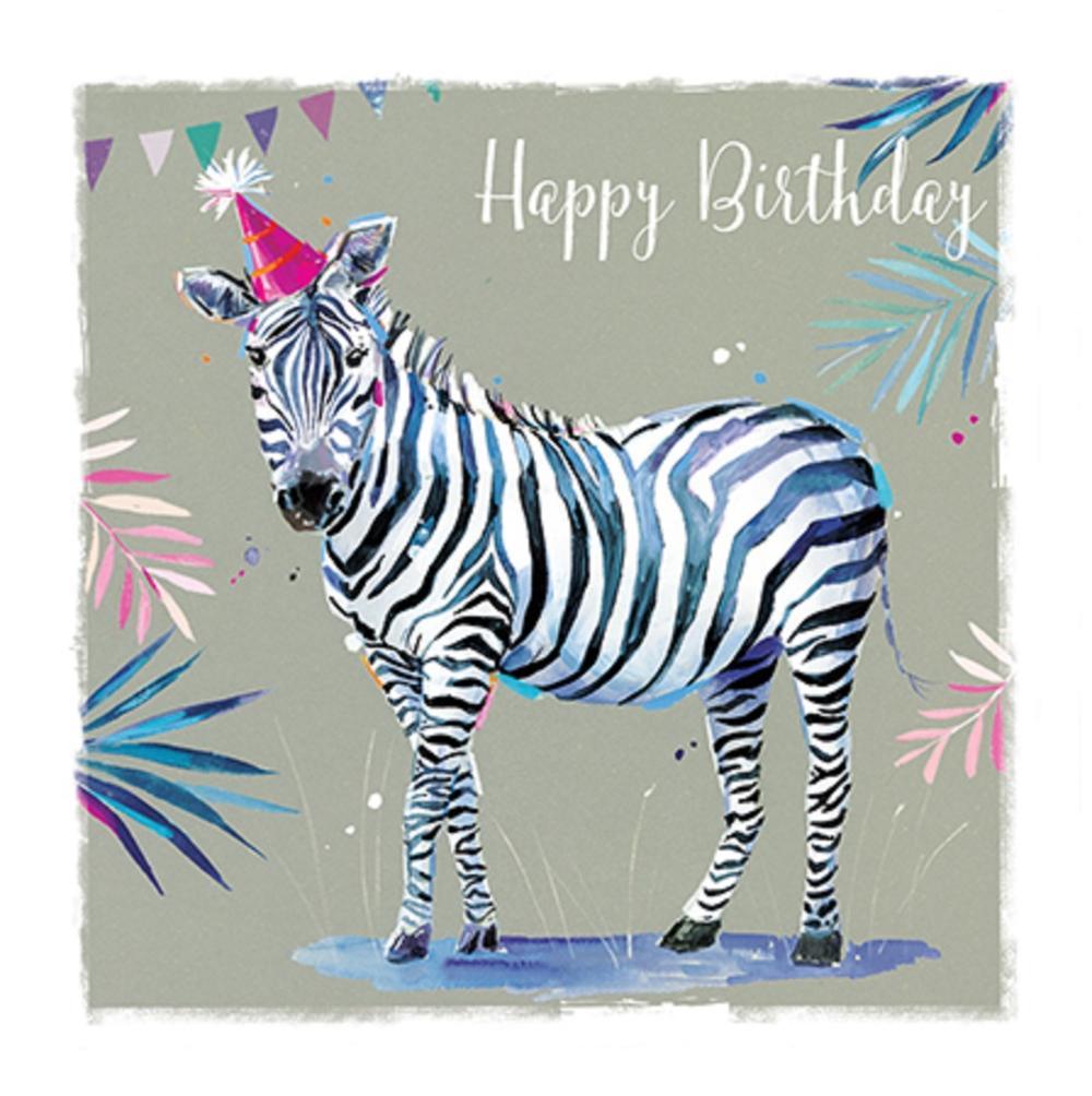 Happy Birthday Zebra Safari Party Greeting Card