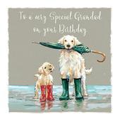 Golden Retriever Grandad Birthday Greeting Card