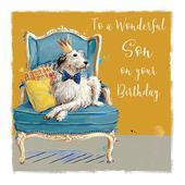 Wonderful Son Scruffy Hound Birthday Greeting Card