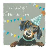 Wonderful Son-In-Law Sausage Dog Birthday Greeting Card