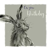 Hoppy Birthday Hare Birthday Greeting Card