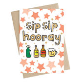 Sip Sip Hooray Beer & Ale Greeting Card