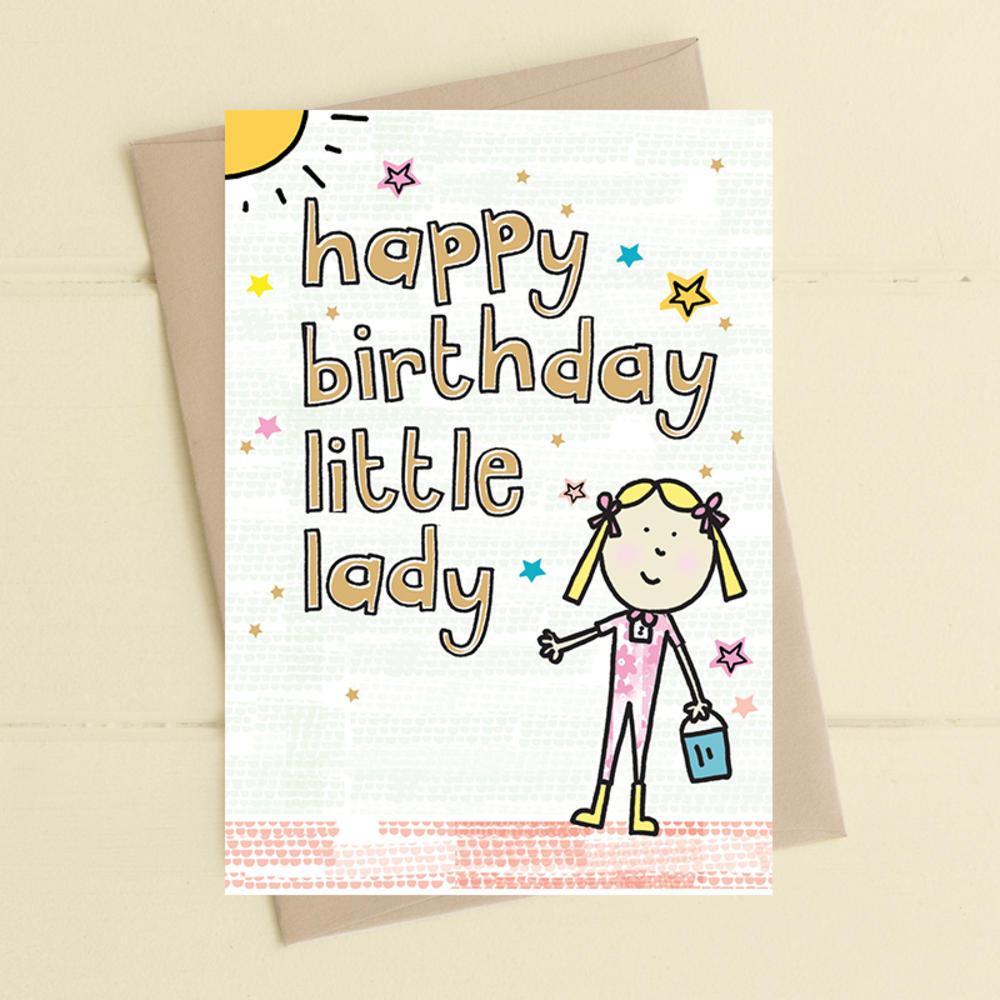 happy birthday to the little lady greeting card  cards
