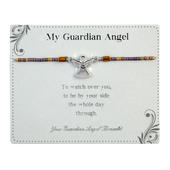 Watch Over Guardian Angel Bracelet On Beaded String With Envelope
