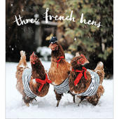 Pack of 5 Three French Hens Christmas Cards