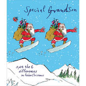 Special Grandson Snowboard Quentin Blake Christmas Greeting Card
