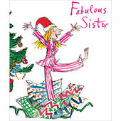 Xmas Morning Fabulous Sister Quentin Blake Christmas Greeting Card