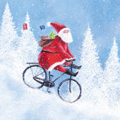 Pack of 8 Santa On His Bike Mini Charity Christmas Cards