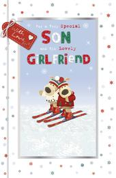 Boofle Son & Girlfriend Embellished Christmas Greeting Card