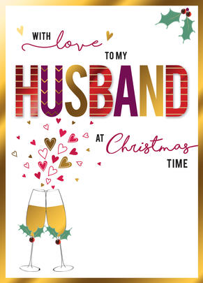 With Love To My Husband Embellished Christmas Card Cards