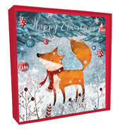 Box of 5 Festive Fox Hand-Finished Christmas Cards