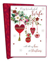 Boxed My Wonderful Wife Luxury Lavish Keepsake Christmas Greeting Card