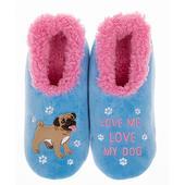 Snoozies! Blue & Pink Pug Slippers Ladies Large