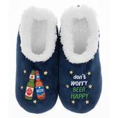 Snoozies! Blue Beer Happy Slippers Mens Large