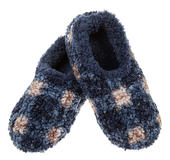 Snoozies! Blue Patterned Boucle Mens Large