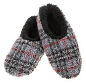 Snoozies! Grey Patterned Boucle Mens Small