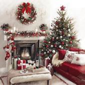 Festive Fireplace Musical Christmas Greeting Card
